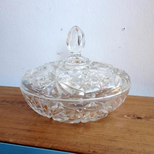 イギリスアンティーク プレスドガラスのキャンディーポット/カットガラス