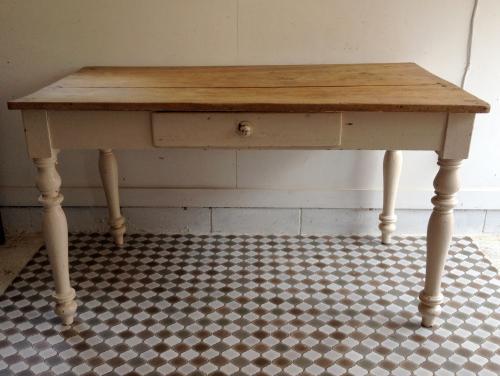 イギリスアンティーク家具 オールドパインテーブル/ホワイトペイント