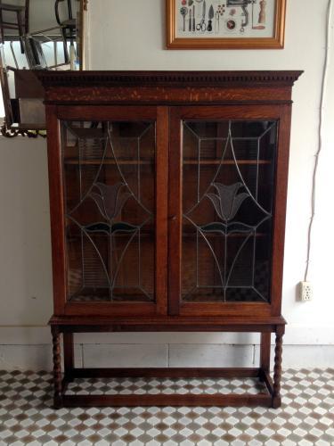 イギリスアンティーク家具 ブックケース/ステンドグラス