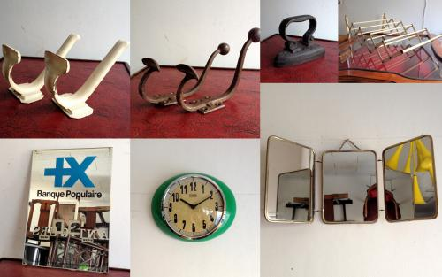 アンティークフック、アンティークアイロン、アンティークタオルハンガー、アンティークカレンダー&ミラー、ヴィンテージ壁掛け時計、アンティーク三面鏡