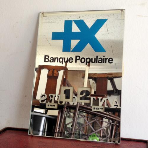 ヴィンテージ カレンダー&ミラー/perpetual/banque populairer/フランス J18