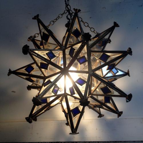 アンティーク 1灯シャンデリア/Stellation(星型多面体)/イギリス M27