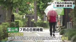7月日照時間史上最短(NHK)