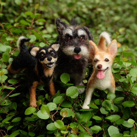 はねつきりんご羊毛フェルトオーダーわんこMIX犬トリオ
