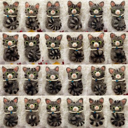 はねつきりんごABCクラフト講習会キジトラ猫のブローチ受講者さん作品