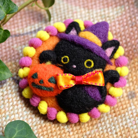 はねつきりんご羊毛フェルトABCクラフト講習会ハロウィン黒猫ブローチ