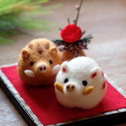 はねつきりんご羊毛フェルト奈良登美ヶ丘産経学園1DAYレッスンいのししの干支飾り