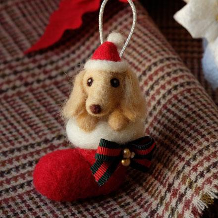 はねつきりんご奈良登美ヶ丘産経学園羊毛フェルト講座ミニチュアダックスフンドクリスマスオーナメント