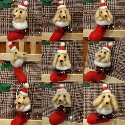 はねつきりんご奈良登美ヶ丘産経学園羊毛フェルト講座受講者さん作品クリスマスダックス