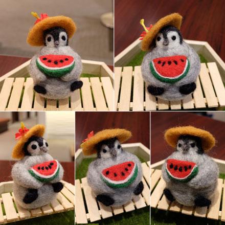 はねつきりんご奈良登美ヶ丘産経学園羊毛フェルト講座ペンギンくん受講生作品