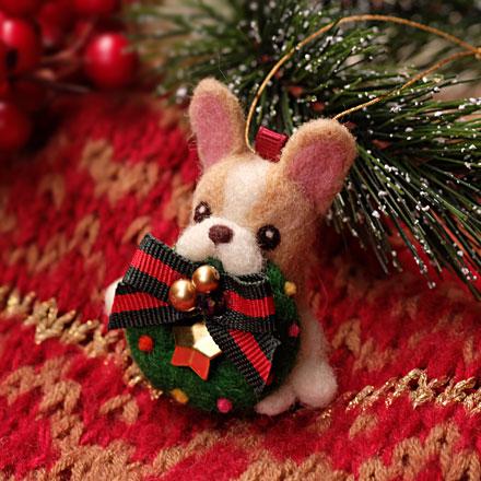 はねつきりんごABCクラフト講習会フレンチブルのクリスマスオーナメント
