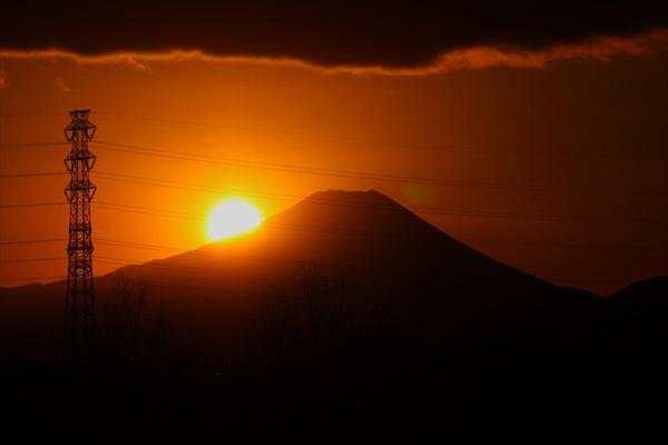 夕陽と鉄塔