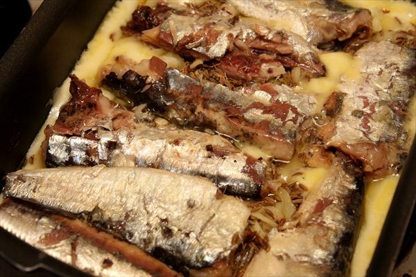 オイルサーディンのチーズクミン焼き