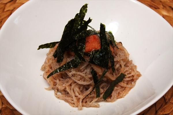 糸蒟蒻の明太パスタ風