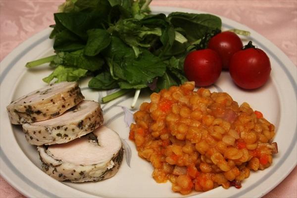 レンズ豆の煮込みと鶏ハム
