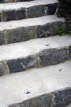 パウ跡のついたかわいい階段
