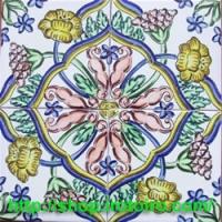 スペインタイルショップ・いろといろ工房/装飾タイル 4枚で一輪【花と花】