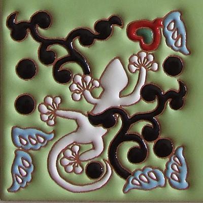 住まいのための手描き装飾タイル制作ネット販売・いろといろ工房/表札タイル・ヤモリ