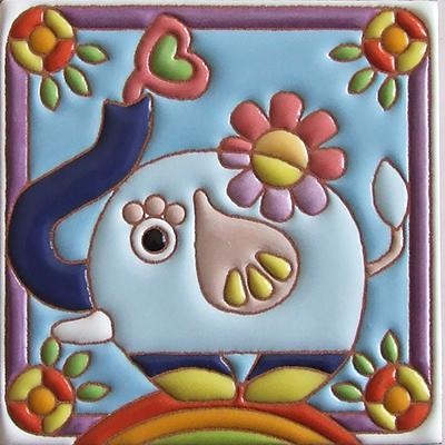 住まいのための手描き装飾タイル制作ネット販売・いろといろ工房/装飾タイル・ゾウさん