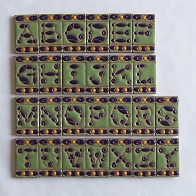 住まいのための手描き装飾タイル制作ネット販売・いろといろ工房/ミニ装飾タイル/アルファベット