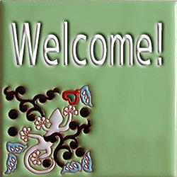 住まいのための手描き装飾タイル制作ネット販売・いろといろ工房/表札タイル/ヤモリ