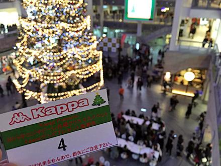 サッポロファクトリーのクリスマスツリーと抽選券