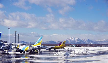雪晴れの新千歳空港