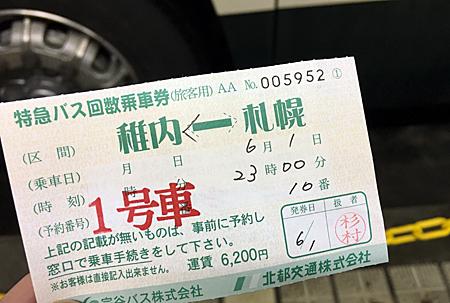 札幌から稚内へのバス回数券