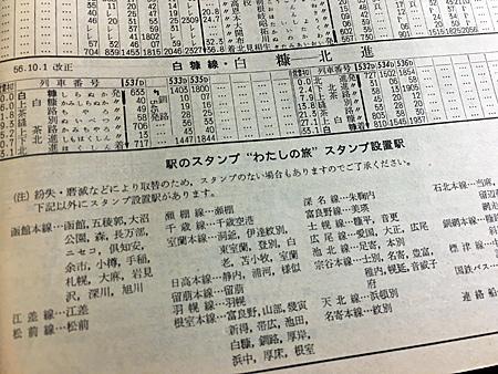 1982年の時刻表に掲載されたスタンプ設置駅一覧