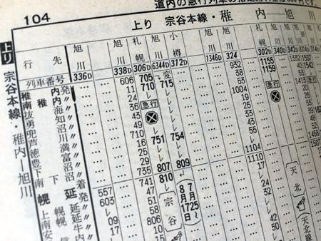宗谷本線の時刻表