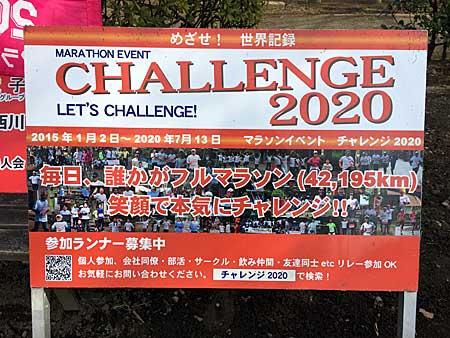 チャレンジ2020の看板 文字は「めざせ!世界記録 毎日、誰かがフルマラソン(42.195km)笑顔で本気にチャレンジ 参加ランナー募集中」