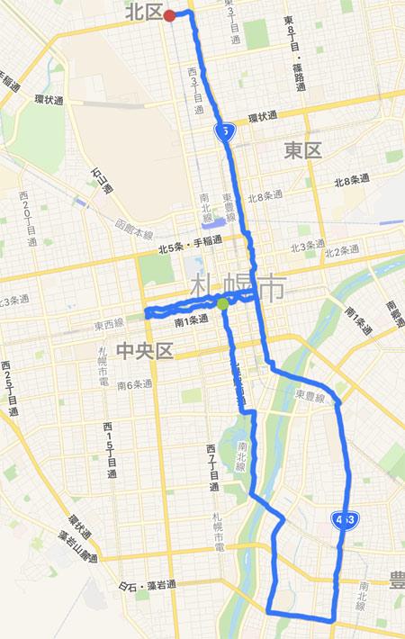 走ったコースの地図