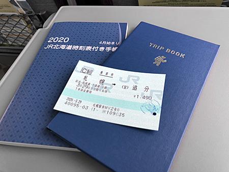 札幌から追分までの切符、時刻表、手帳
