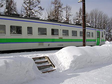 新十津川駅のホーム 上の写真と同じ角度から