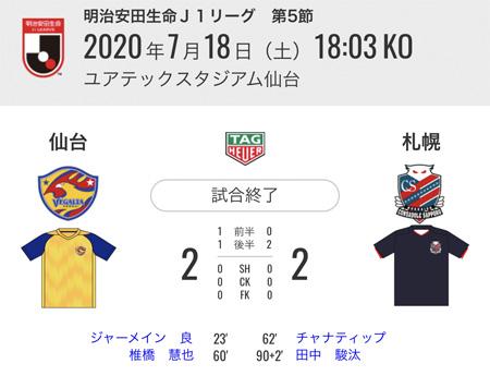 試合結果 仙台2−2札幌