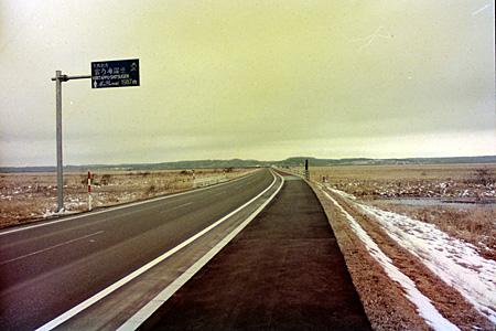 湿原を貫く道路