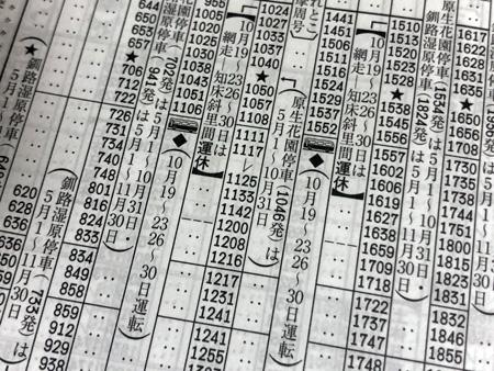 時刻表の釧網本線のページ