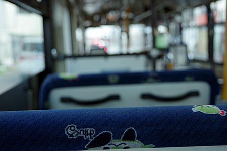 都営バスのマスコット「みんくる」が描かれたシート