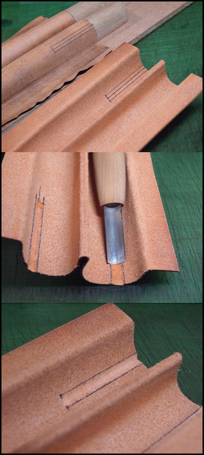 クリップ部分の溝彫り