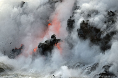 moment of lava collapse