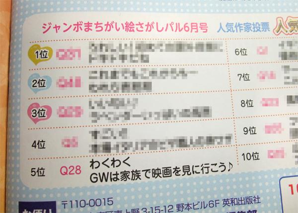 雑誌『ジャンボまちがい絵さがしパル』10月号人気作家投票画像