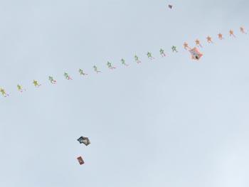 連凧もゆっくり揚がりました