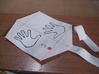 簡単六角凧の完成