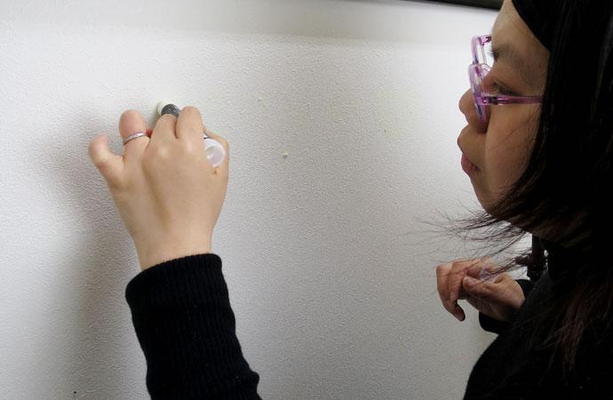 サクラクレパス 蓄光用 マーカー 壁に 試し書き