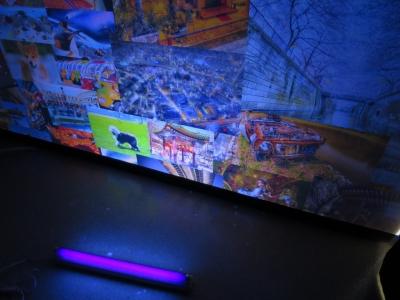 ブラックライトF L20SBL-B と三菱蛍光灯器具KL2681のセット 明るさ