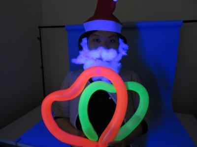 ネオバルーン クリスマス グッズ 完成 ブラックライト 照射