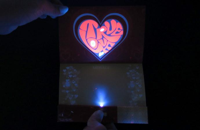 バレンタインデー グリーティングカード エレガント編 ブラックライト照射