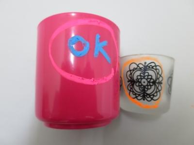 洗えるクレヨン プラスチック ガラス 試す