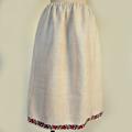FG244 ウクライナ製ホームスパンリネン赤いアネモネ刺繍スカート