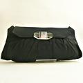 CB158 1940年代アメリカ製ブラックグログランxルーサイトパーツオーバーサイズクラッチバッグ